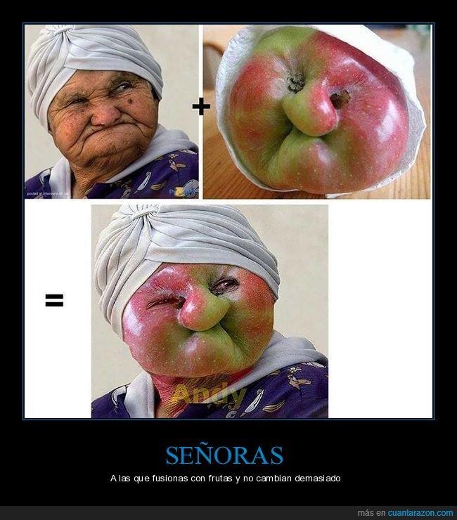 fusión,manzana,parecidos,señora