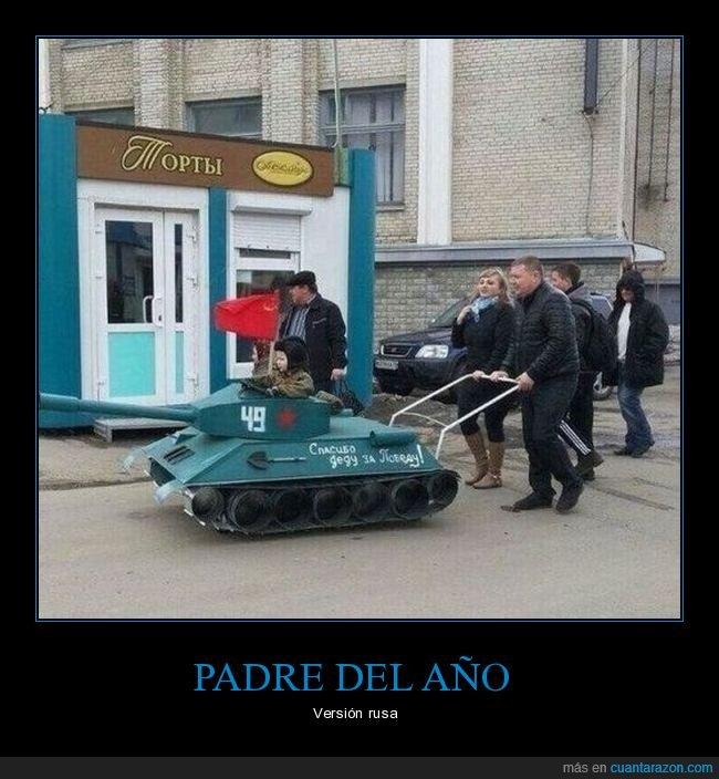 carrito,hijo,padre,rusos,tanque