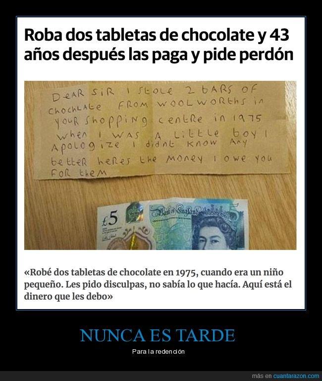 devolver,dinero,perdón,robo,tabletas de chocolate