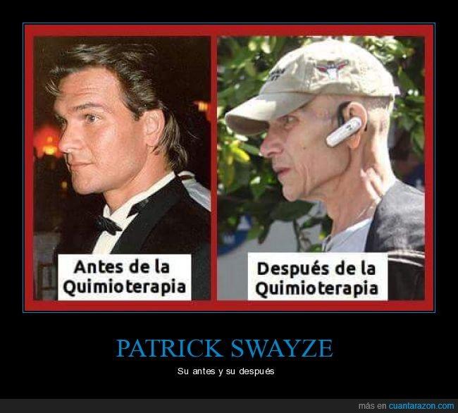 antes,cáncer,después,patrick swayze,quimioterapia