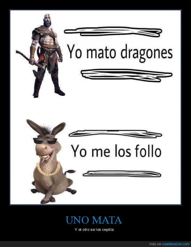 asno,dragones,kratos,matar,shrek