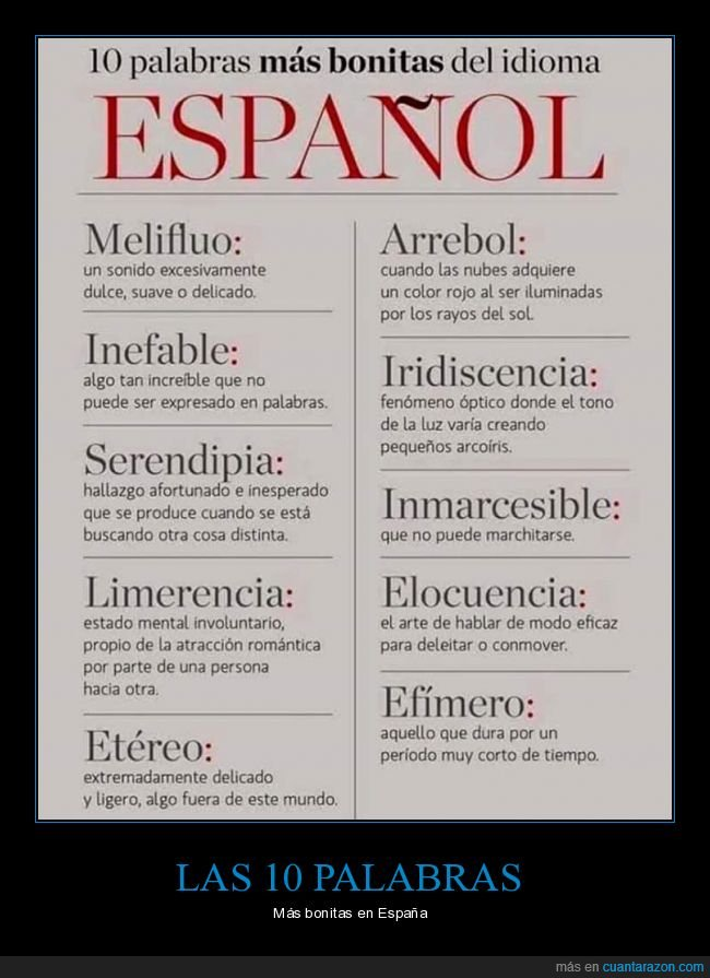 bonitas,español,palabrs