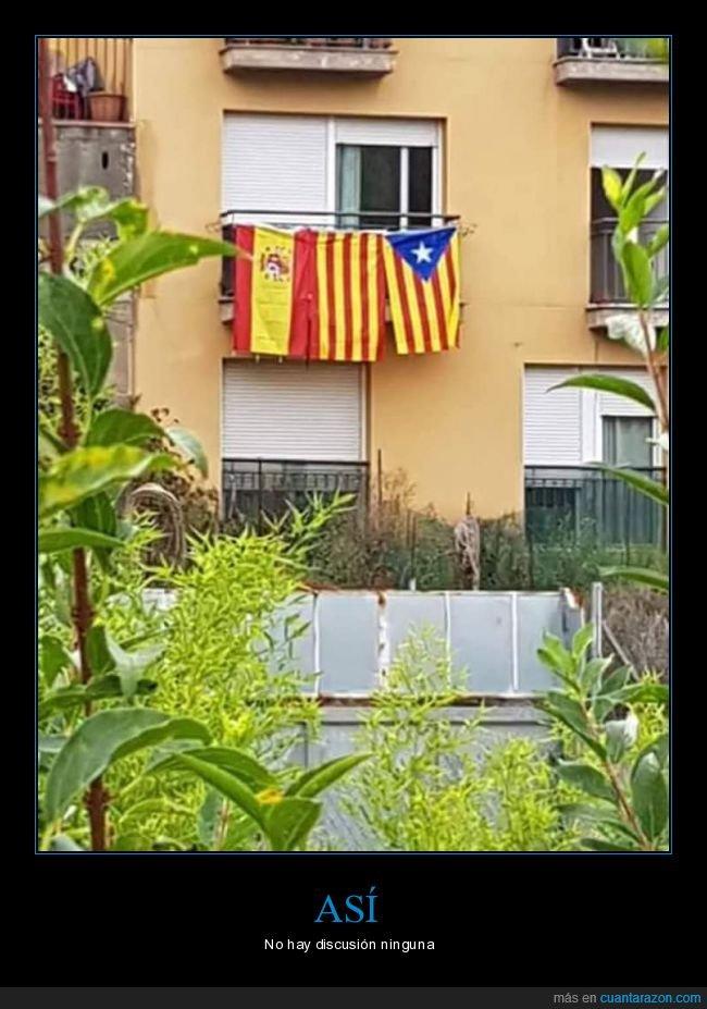 balcón,banderas,cataluña,españa,senyera