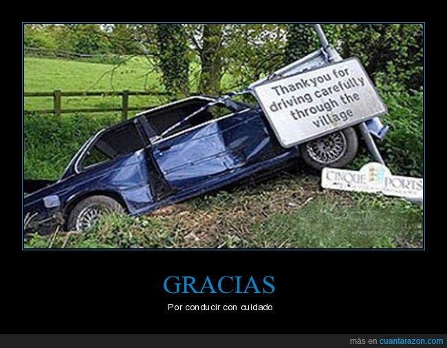 cartel,coche,conducir,cuidado