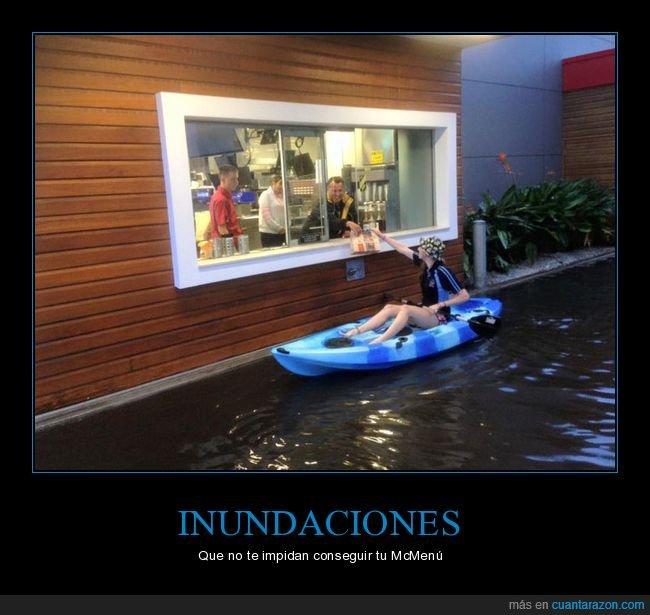 inundación,kayak,mcdonald's