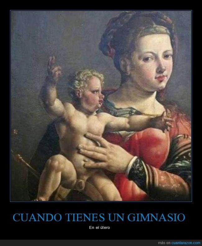arte,gimnasio,musculoso,niño jesús,útero