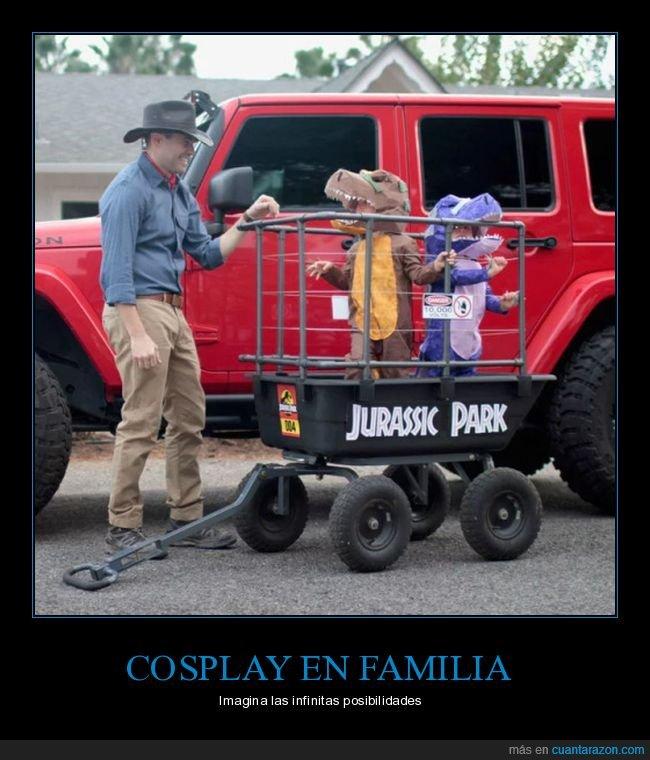 cosplay,familia,jurassic park,niños