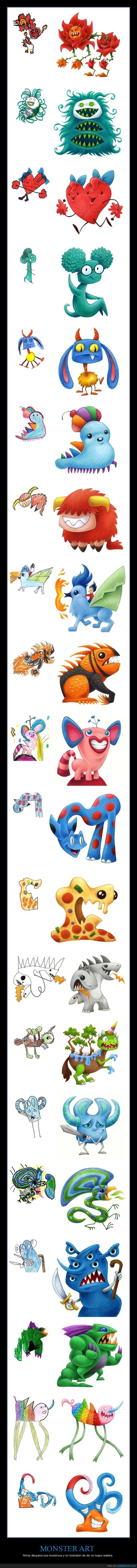 dibujos,monster art,monstruos,niños