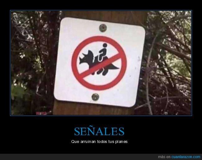 arruinar,planes,prohibición,señal,triceratops