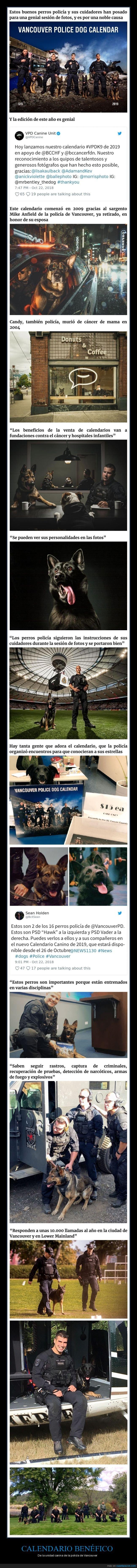 calendario benéfico,policía,unidad canina,vancouver