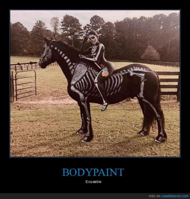 bodypaint,caballo,esqueleto