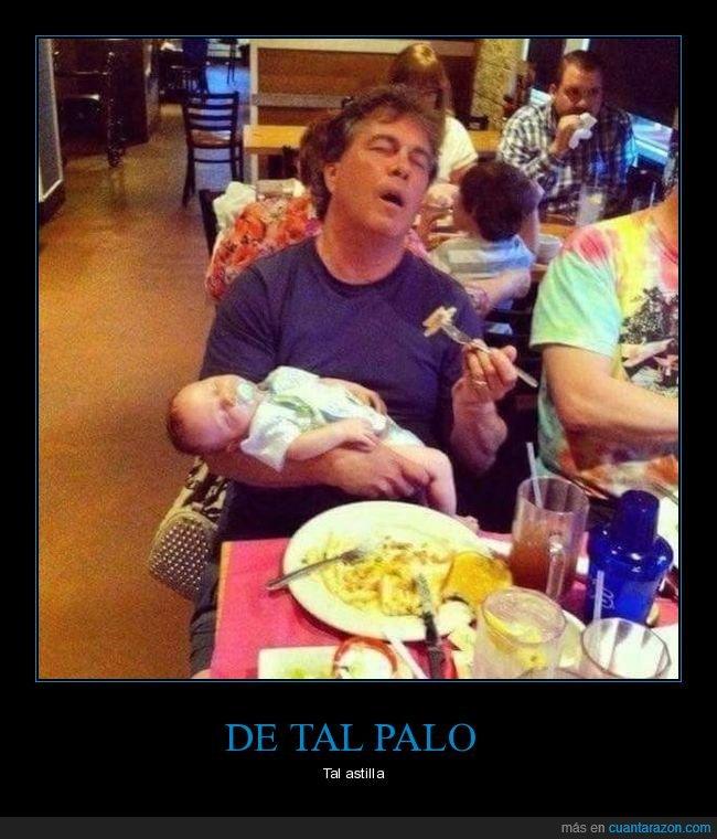 comiendo,dormidos,durmiendo,hijo,padre