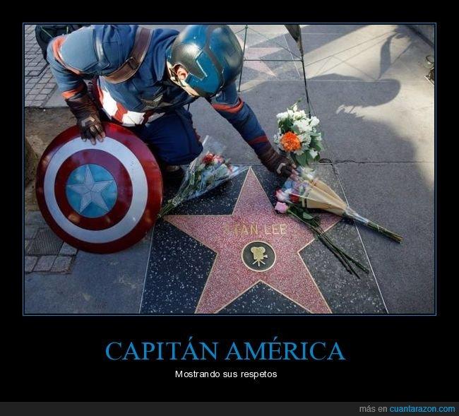 capitán américa,estrella,paseo de la fama,stan lee