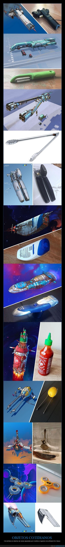 diseños,eric geusz,naves espaciales,objetos cotidianos