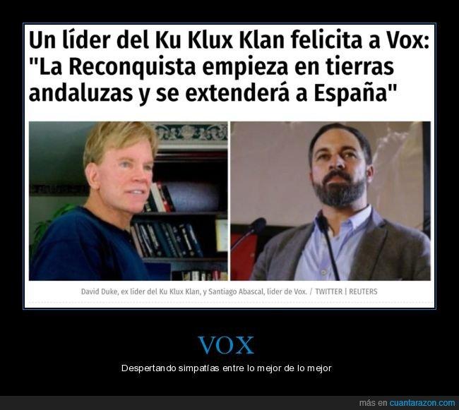 felicitar,ku klux klan,políticos,vox