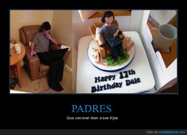 cumpleaños,hijo,ordenador,sillón,tarta