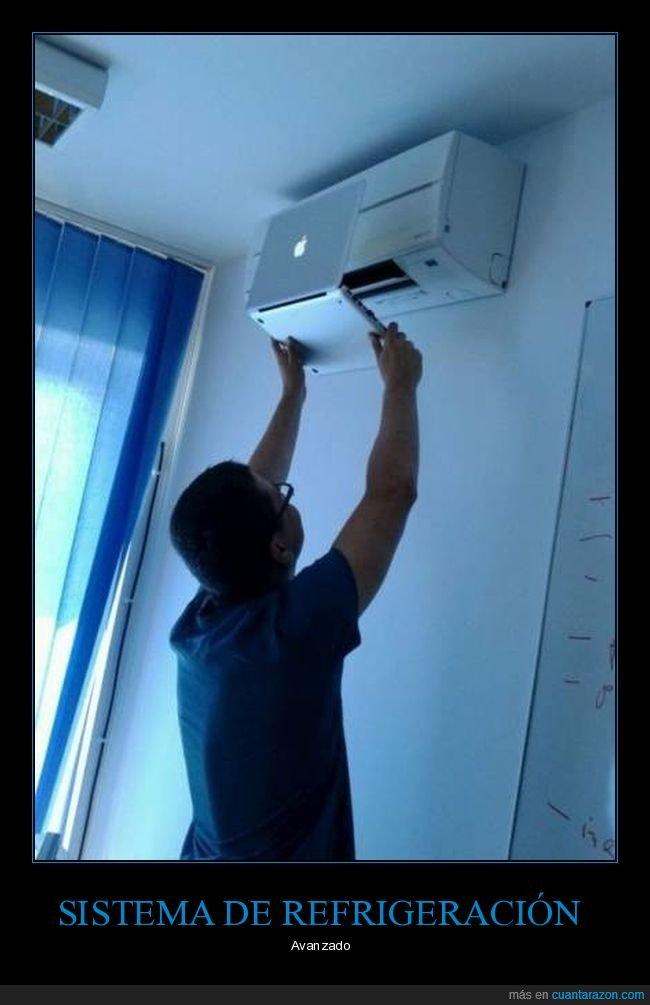 aire acondicionado,enfriando,ordenador,portátil