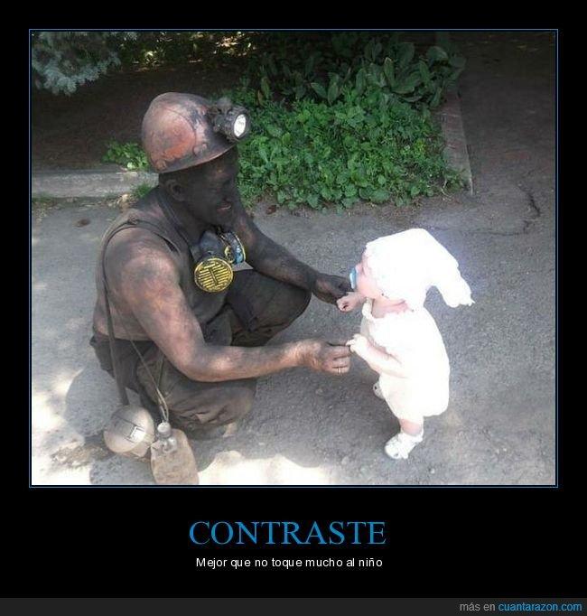 bebé,contraste,minero,sucio