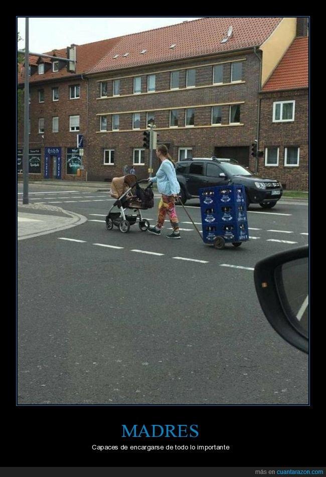 bebé,carrito,cerveza,madre,wtf