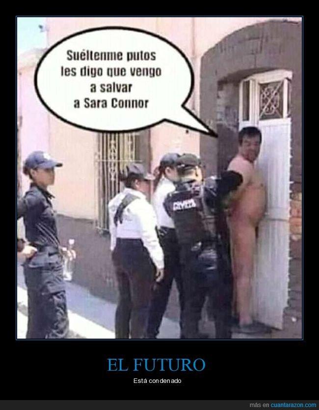 absurdo,arresto,desnudo,policía,sarah connor,terminator