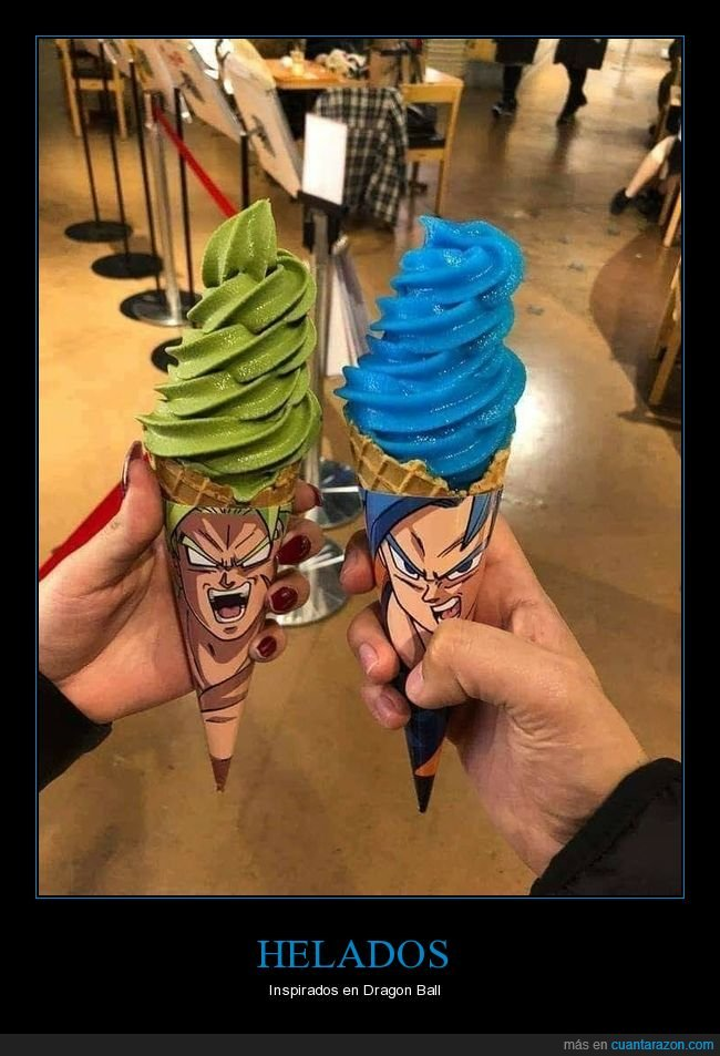 broly,dragon ball,goku,helados