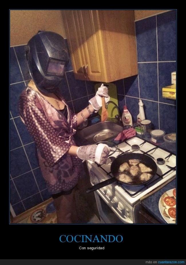 aceite,cocinando,máscara de soldador