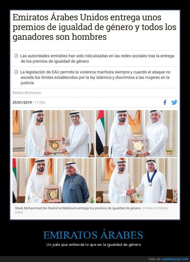 emiratos árabes unidos,ganadores,hombres,igualdad de género,premios