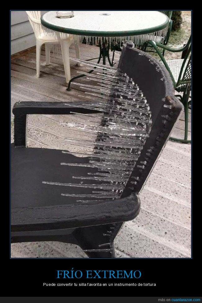 frío,hielo,pinchos,silla