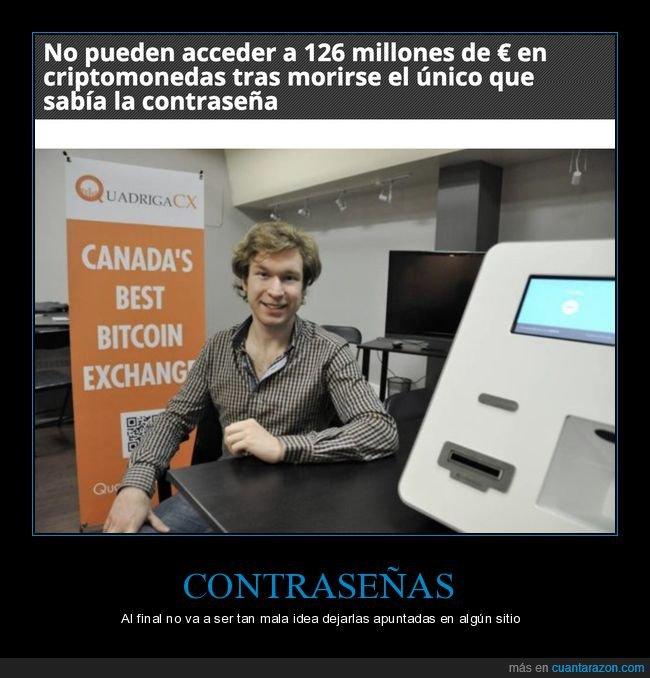 acceder,bitcoin,contraseña,criptomonedas,dinero,muerte