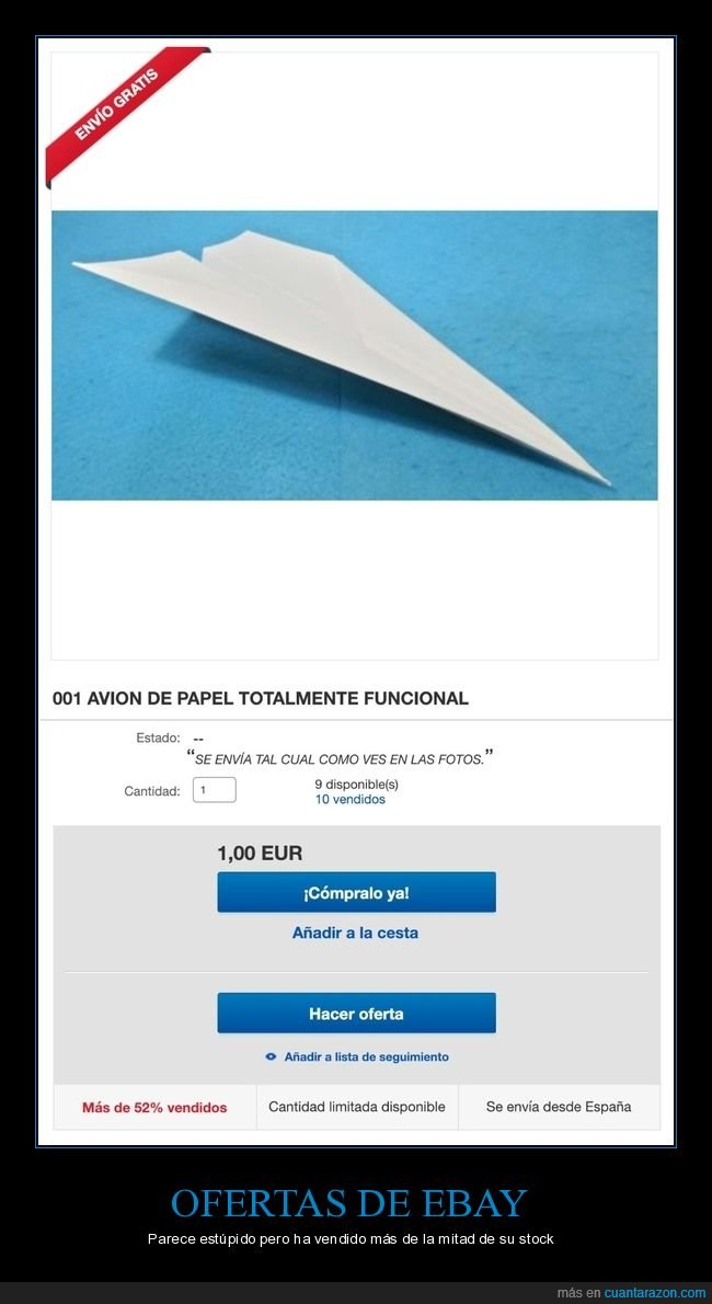 anuncio,avión de papel,ebay