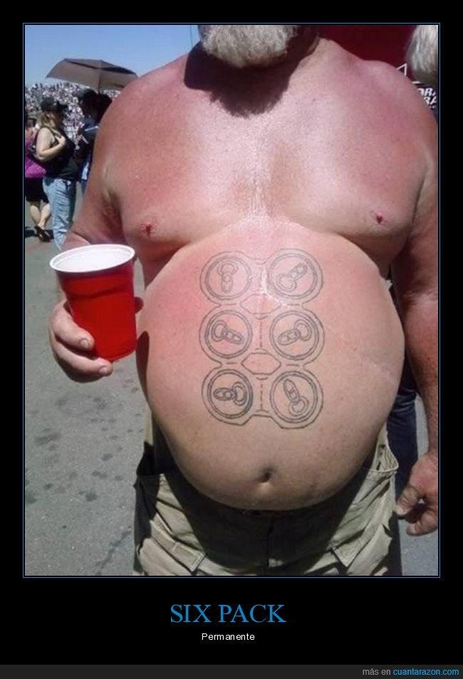 barriga,cerveza,gordo,six pack,tatuaje