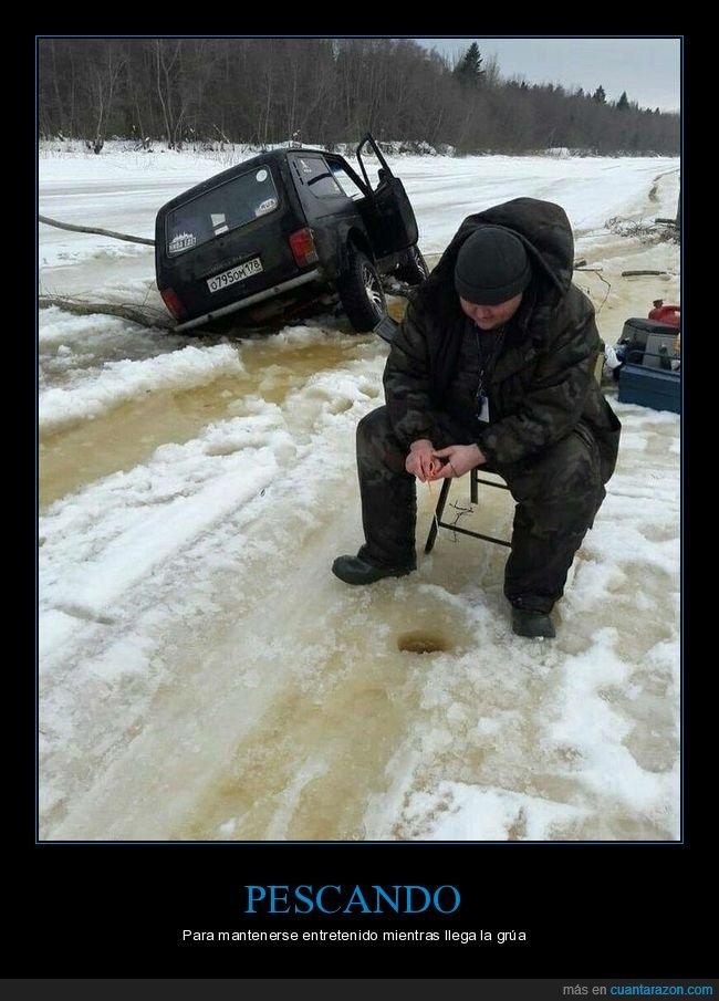 coche,fails,hielo,pescando