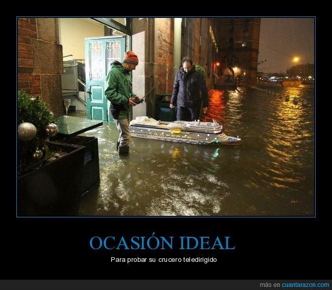 barco,inundación,teledirigido