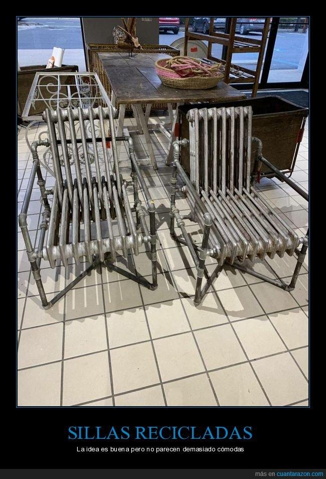 radiadores,recicladas,sillas