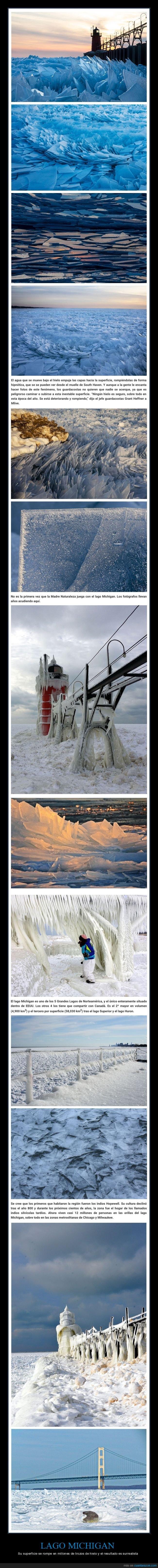 hielo,lago michigan,superficie,surrealista