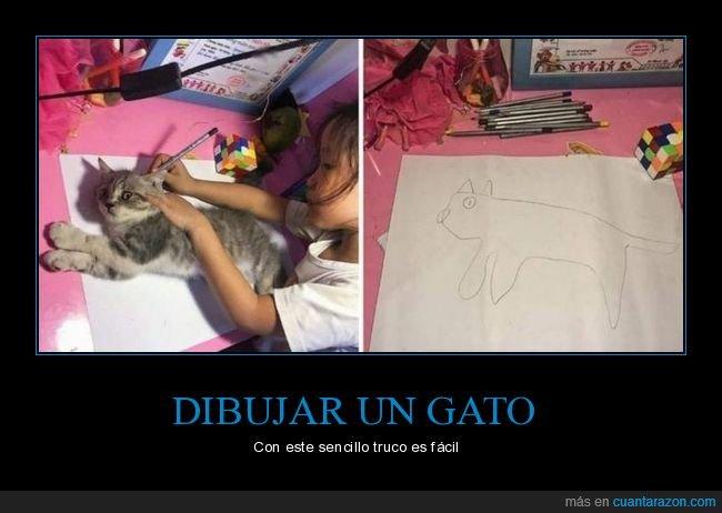 dibujar,dibujo,fails,gatos,niña
