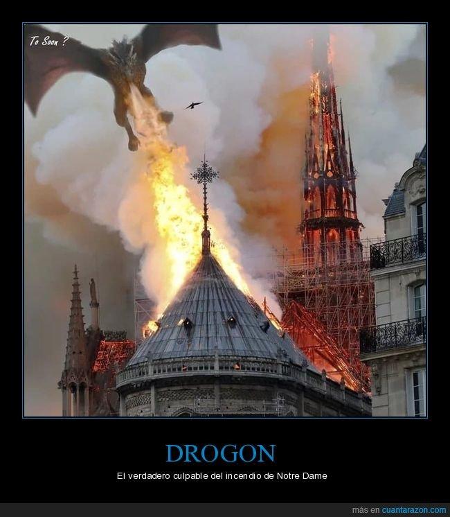 catedral,dragón,incendio,juego de tronos,notre dame