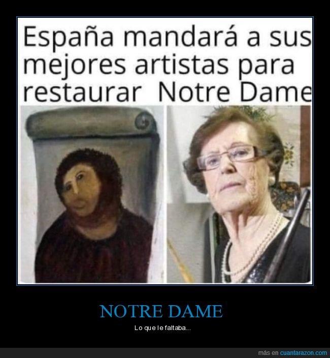 artistas,cecilia giménez,ecce homo,españa,notre dame,restaurar