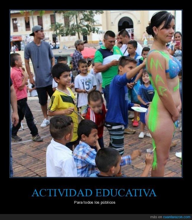 body paint,chica,niño,niños,pintando