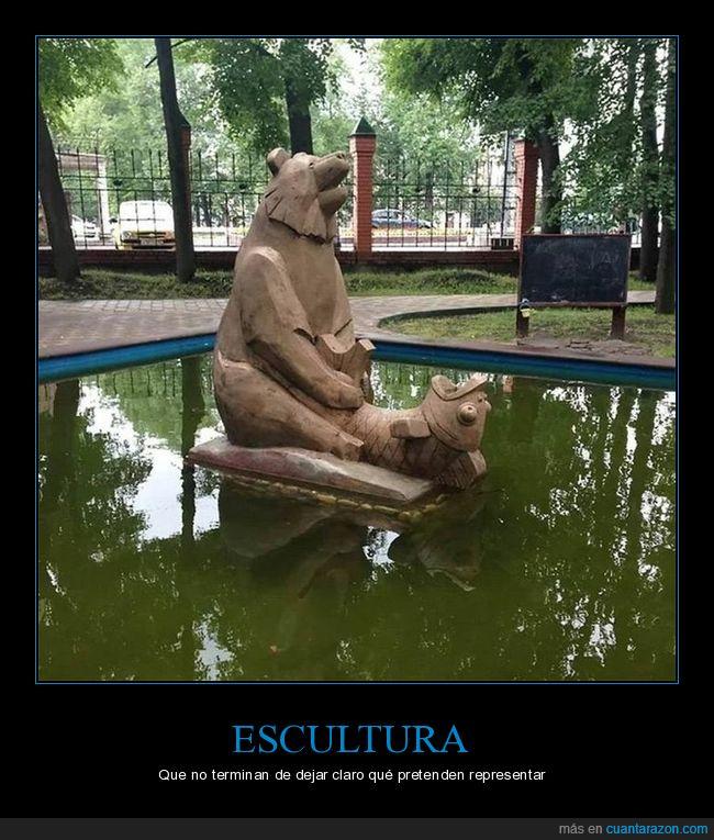 escultura,oso,parque,pez,wtf