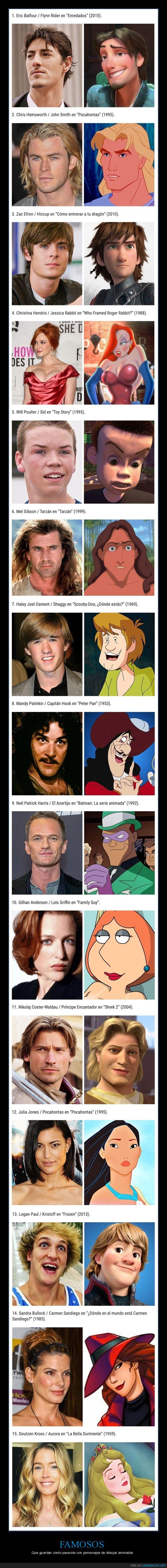 dibujos animados,famosos,parecidos,personajes