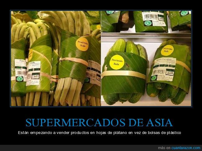 asia,bolsas,hojas de plátano,plástico,supermercados