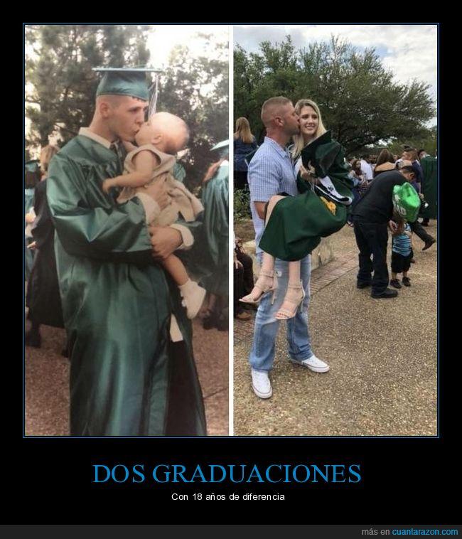ahora,antes,graduación,hija,padre