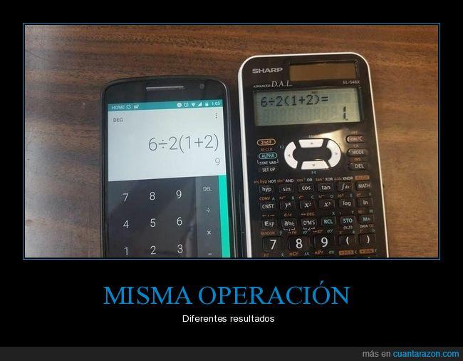 calculadora,móvil,operación,resultados