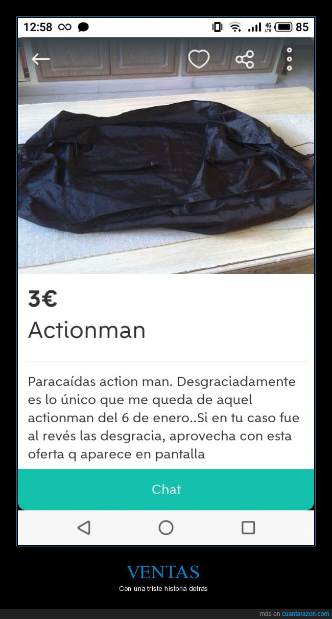 action man,anuncio,paracaídas,wallapop