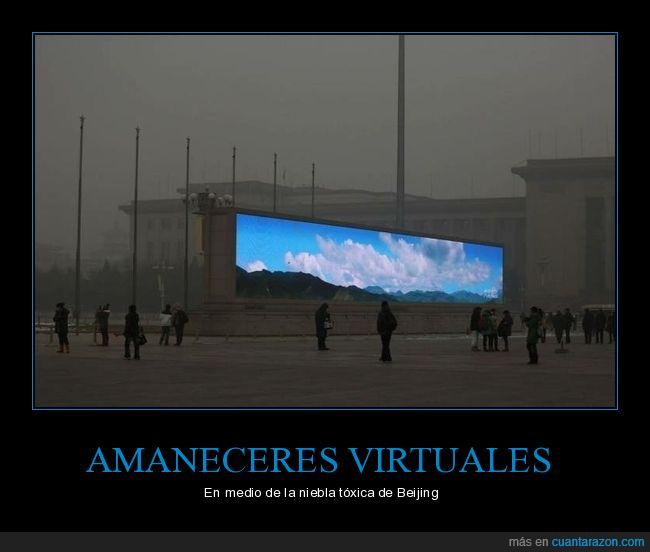 amanecer,china,contaminación,virtual