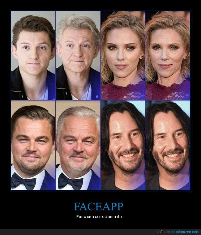 faceapp,filtro,keanu reeves,leonardo dicaprio,scarlett johansson,tom holland,viejos