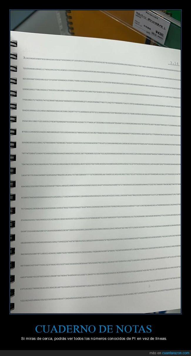 cuaderno,línes,números,pi