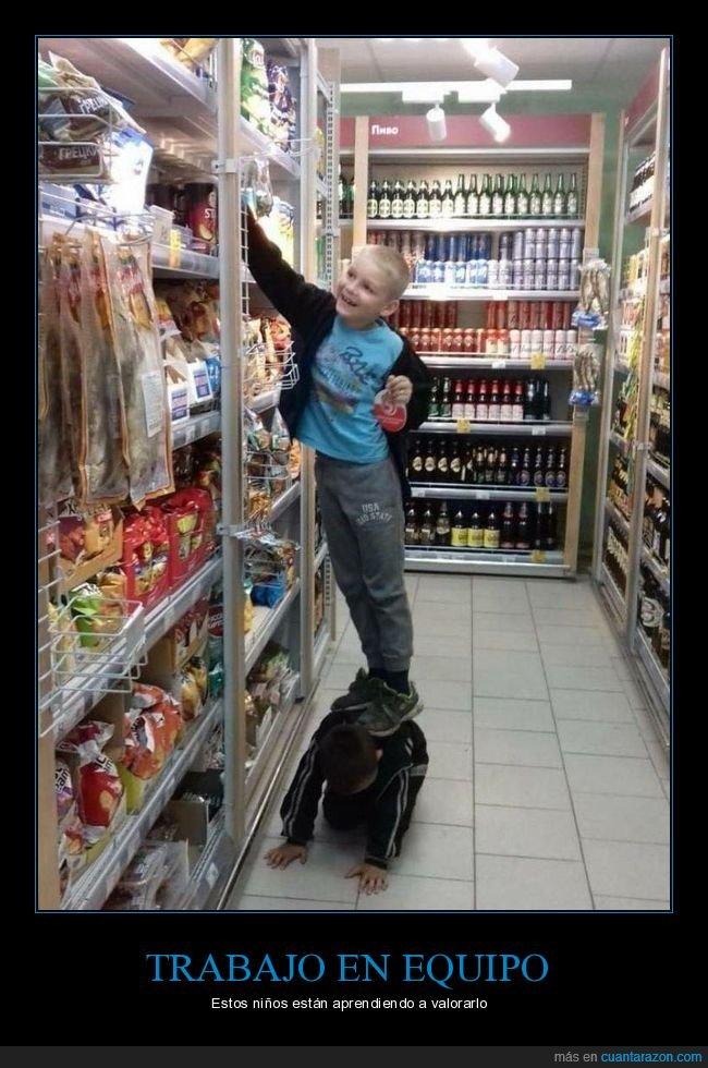 niños,supermercado,trabajo en equipo