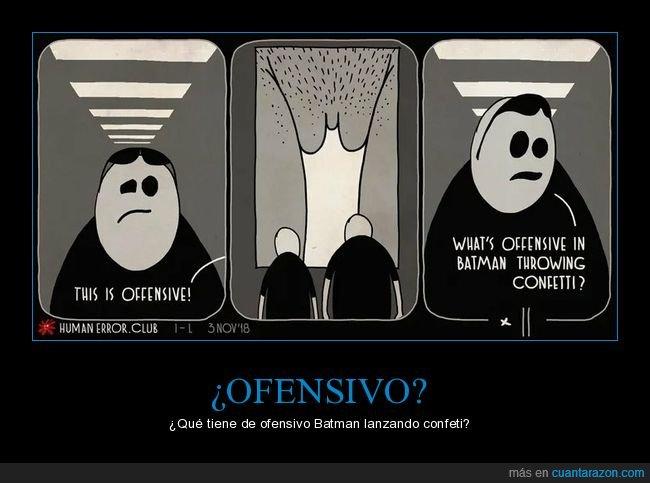 batman,confeti,lanzando,ofensivo